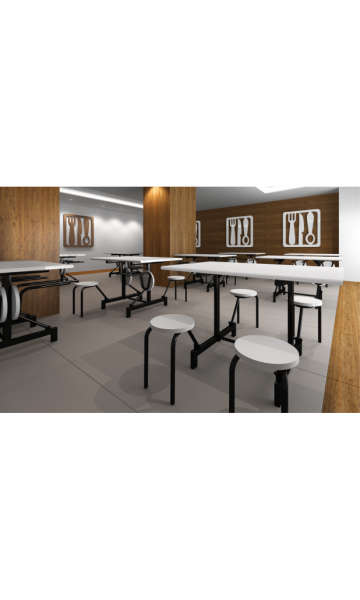 Mesa refeitório com assentos escamoteáveis ME 6004